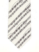Music - manuscript on white silk - TIE STUDIO