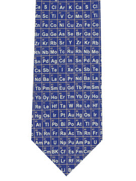 Periodic Table Tie on blue silk