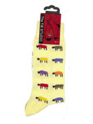 Colourful sheep on yellow Socks  - TIE STUDIO